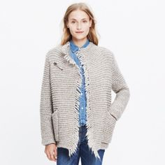 Madewell Fringe Open Cardigan ❄️ Very soft, large knit cardigan. Large safety pin that you can remove. Extremely warm but since I live in San Diego, I don't have too many opportunities to wear it  Worn once for a few hours. Oversized so it could fit a large as well. Madewell Sweaters Cardigans