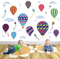 Hot Air Balloon Wall Decal  Kites and by EnchantedInteriorsUK