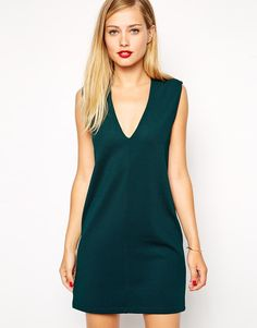classic...comes in black too {ASOS Sleeveless Shift Dress in Texture with V Neck}
