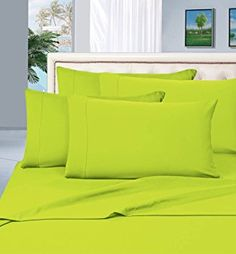 #1 Rated Best Seller Luxurious Bed Sheets Set on Amazon! Elegant Comfort® 1500 Thread Count Wrinkle,Fade and Stain Resistant 4-Piece Bed Sheet set, Deep Pocket, HypoAllergenic - King Lime