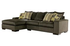 """The Freestyle 2-Piece Sectional from Ashley Furniture HomeStore (AFHS.com). With a unique contemporary style and soft upholstery fabric, the """"Freestyle-Pewter"""" upholstery sectional offers both beauty and comfort to help enhance the look and feel of any living room decor."""