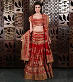 Red Chanderi Lehenga With Aari Embroidery