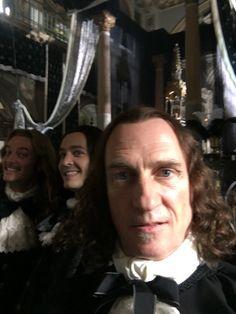 Evan Williams, Alexander Vlahos & Stuart Bowman on the set of Versailles