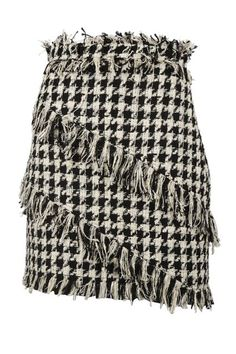 Miniskirts Aren't Just For After Hours Anymore #refinery29  http://www.refinery29.com/2016/10/127973/short-skirt-fall-outfits#slide-4  Just add a black sweater and black boots. MSGM Fringed Houndstooth Mini Skirt, $314.49, available at Italest....