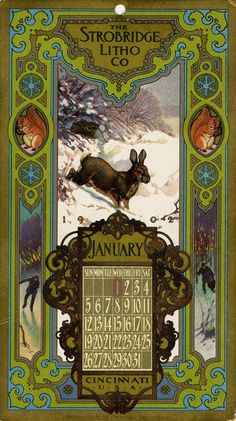 January, 1902, Strobridge Lithographing Company, from the Strobridge Calendar Card Samples, 1899-1912