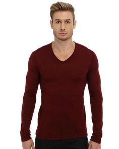 John Varvatos Star USA Men's Long Sleeve V-Neck Sweater with Pintuck Details,