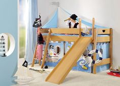 Play bed Varietta (height: 125 cm) with sloping ladder, slide, tent and curtain set