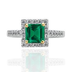 """EMERALD - lush, exotic, untamed. To many, emerald symbolizes rebirth as its rich green hue brings to mind the regeneration of life in Spring. Ancient history records Emerald mines near the Red Sea, """"Cleopatra's Mines,"""" where the Pharaohs gathered gems between 3000 and 1500 B.C. Many believe this precious gem to bring good luck and restore health. It is a precious gemstone made for royalty!    This gorgeous and modern ring features a natural 1.16 carat Asscher-cut colombian emerald gemstone…"""