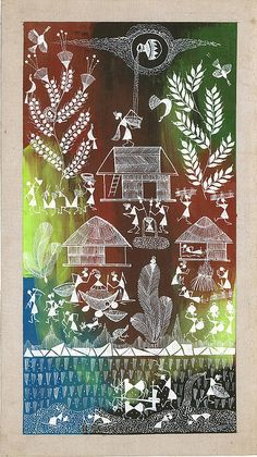 Warli Painting - Village by Art Tantra Tribal Pattern Art, Tribal Art, Madhubani Art, Madhubani Painting, Traditional Paintings, Traditional Art, Worli Painting, African Art Paintings, Indian Folk Art