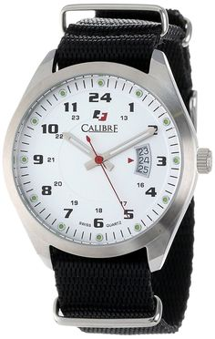 Calibre Men's SC-4T1-04-001.7T Trooper Stainless Steel Black Canvas Strap 24 Hour Time Display Watch >>> Continue to the product at the image link.
