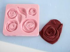 Sweet Elite Pouf Roses and Leaves Silicone Mold by Colette Peters