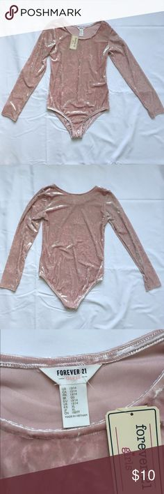 Pink Crushed Velvet Bodysuit NWT forever 21 kids size 13/14 crushed velvet bodysuit. Fits an extra small women's, maybe a small. Has a full coverage bottom and scoopneck. Forever 21 Tops
