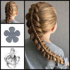 Stacked pullthrough braid with 3D round braid and a beautiful hairclip from the webshop www.goudhaartje.nl (worldwide shipping).   #hair #hairstyle #plait #trenza #vlecht #braid #braids #braidideas #hairfeed #hairpost #hairtrends #hairideas #stunninghair #coolhair #beautifulhair #gorgeoushair #longhair #blonde #thickhair #bigbraid #stackedbraid  #hairaccessories #haaraccessoires #goudhaartje