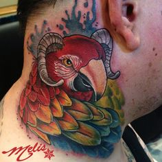 parrot bird tattoo awful idea with the horns but the facial expression is good and the feathers are as well Tattoo Goat, Parrot Tattoo, Cool Tattoos, Neck Tattoos, Bird Tattoos, Parrot Bird, Black And Grey Tattoos, Portrait, Horns
