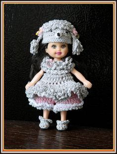 Crochet Kelly Poodle outfit, clothes for 4.5 kelly doll 4 pcs.