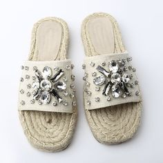 Summer Embellished Espadrille Slide Sandals In Apricot,38 |... (3910 RSD) ❤ liked on Polyvore featuring shoes and sandals