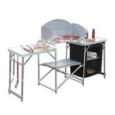Outdoor Prep Station Portable Kitchen Cook Folding Camping Table Garden Picnic