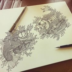 """""""Bassfish Airship Battle"""" #penandink #illustration by @chenskidoodles. This #airship #drawing looks awesome but I seriously wonder how an airship can use use #bass #fish as a floatation mechanism! Anyway I love the #patterns of scales on the #fish and the #detail of wood on the #ships. Really great work!"""