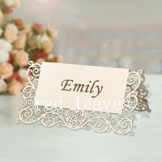 120pcs Laser cut heart lace Place Card 9x10cm. $40.00, via Etsy.