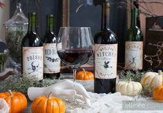 Halloween Wine Bottle Labels from Elli. 31 FREE Halloween Printables on Frugal Coupon Living. Halloween freebies for kids, adults and the home.