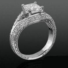 Diamond Paved Artistically Designed Split Shank Engagement Ring