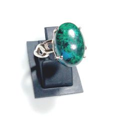 Natural Chrysocolla Gemstone Cabochon in handmade designer Ring ANY SIZE AVAILABLE made in Solid 925 Sterling Silver