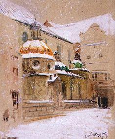 Leon Wyczółkowski. Widok Wawelu z Kaplicą Zygmuntowską w zimie.   1914. Akwarela, gwasz na kartonie