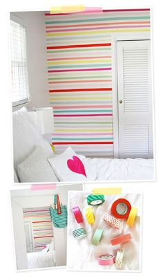 DIY Washi Tape Wall - 12 Best DIY Wall Treatment Ideas to Spruce Up Your Home | GleamItUp