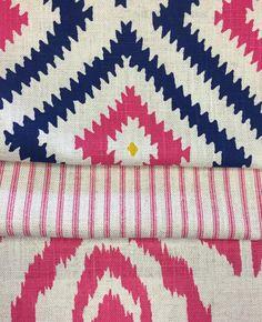 Savannah and Glacier fabrics from Andrew Martin. Hot pink, geometrics, kilim and ticking stripes