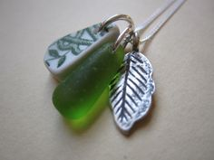 Sterling Silver 925 Genuine Green Seaglass Sea Glass Pottery Leaf Necklace OOAK £23.95