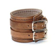 Antiqued Brown Leather Cuff Bracelet Adjustable with Buckles Mens Leather Cuff Womens Leather Cuff. $35.00, via Etsy.
