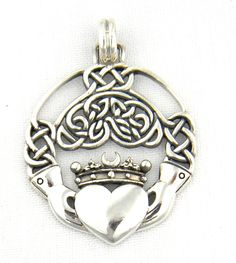 Sterling Silver Celtic Claddagh Pendant Charm with Intricate Celtic Knot Work Irish