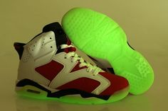 new product 05607 9f7b5 Air Jordan Retro 6 White Nike Vi Mens Shoes Glow in the Night Rose Red Green