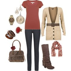 Like the outfit and fall colors, but LOVE the boots!