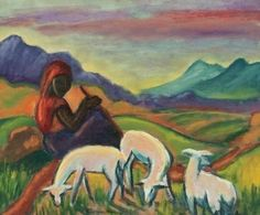 Artwork by Maggie Laubser, LANDSCAPE WITH A FIGURE AND SHEEP, Made of oil on canvas