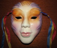 Unusual Vintage Ceramic Wall Mask Likely by Clay Art Mardi Gras