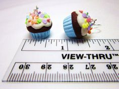 Confetti Cupcake Polymer Clay Kawaii Dangle Earrings