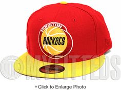 size 40 ed2e5 1b479 Houston Rockets Fire Red Comet Yellow Jet Black Glacial White New Era  Fitted Hat New Era