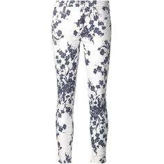 7 For All Mankind floral print skinny jeans ($285) ❤ liked on Polyvore featuring jeans, pants, bottoms, calça, housut, white, denim skinny jeans, flower print jeans, floral printed jeans and white floral jeans