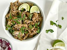 Seasoned with oregano, cumin, chili powder, lime juice, these Mexican Slow Cooker Pork Carnitas Tacos are the perfect meal for any night of the week. (gluten free, dairy free, paleo, healthy, clean eating) | fromcatstocooking.com