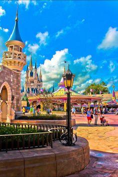Cinderella Castle and Carousel in the Magic Kingdom, Walt Disney World, FL