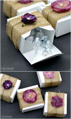 DIY burlap and floral wedding gist boxes More