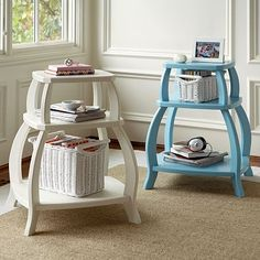 Pop-Up Storage Bedside Table US$199 from Pottery Barn Teen -- love the shape.