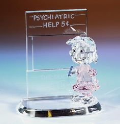 psychiatric help lucy crystal world figurine charlie brown Peanut Pictures, Peanuts Characters, Charlie Brown And Snoopy, Peanuts Gang, Crystal Collection, Faceted Crystal, Rarity, Natural Crystals, Psychiatric Help