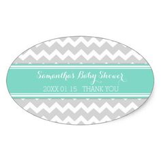 Shop Grey Aqua Chevron Baby Shower Favor Stickers created by DreamingMindCards.