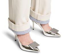 Andrea metallic mid height pumps #AcneStudios #shoes