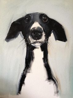 Sweet black and white dog painting, so cute! Sally Muir.