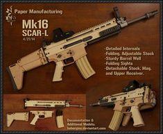 Del mismo tamaño PM MK16 SCAR-L Modelo Asalto Rifle de papel descargar GRATIS