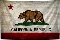 Rustic California Flag Tapestry Fabric Art Print by BoofunkPrints