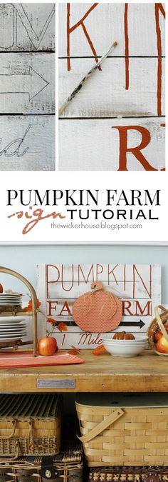 Adorable DIY Pumpkin Farm Sign Tutorial by Ella Claire.